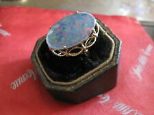 14K Yellow Gold Wire Rope Design Ring 24mm x 16mm oval BLUE OPAL TRIPLET  Sz 6