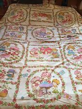 STRAWBERRY SHORTCAKE Twin Flat Bed Sheet - Vintage Quilting Fabric Material