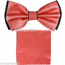 Two Tone Black CORAL Bow tie And CORAL Handkerchief Set Wedding Prom