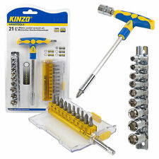 Kinzo 21pc Metric SOCKET WRENCH DRIVE Set Cricchetto Tool Kit CROMO VANADIO Bits
