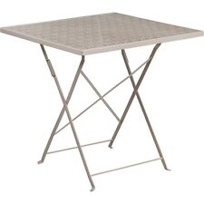 "Flash Furniture 28"". Square Light Gray Indoor-Outdoor Steel Folding Patio Table"