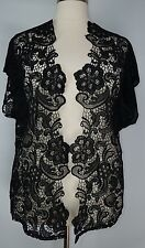 PRETTY CATO WOMEN'S BLACK SHORT SLEEVE LACE OPEN FRONT CARDIGAN PLUS Sz 22/24W