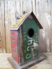 Vtg-Look Industrial Galvanized Painted License Plate Metal BIRDHOUSE Bird House