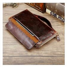 NEW Men's Real Leather Zip Long Fancy Wallet Clutch Purse Handbag Mobile Holder