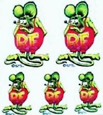 Mini Green Rat Fink STICKERS Decal Ed Big Daddy Roth RF17MG Five Mini's In One