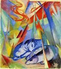 "Franz Marc Vintage Abstract Art CANVAS PRINT Sleeping Blue Horses poster 24""X18"""