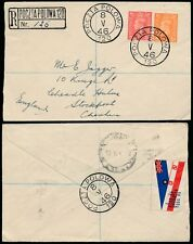 GB KG6 1946 REGISTERED POLAND FPO 120 + PATRIOTIC RAF LABEL...1d + 2d