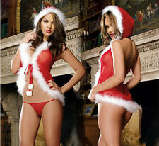Christmas Underwear Women's Sexy Lingerie Red Babydoll Dress Sleepwear US1WO