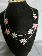 UNIQUE DOUBLE WIRE STRAND PINK ENAMEL PINK RHINESTONE FLORAL CHOKER NECKLACE
