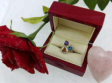 Ring 750 Weiss Gelb Gold Herz heart Rubin Topas Citrin Diamant ruby diamond