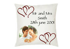 Personalised Photo and Text Wedding Cushion Cover - Ideal Gift, Memento