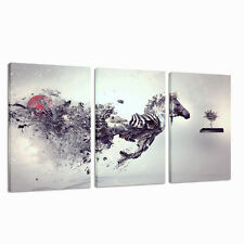 Large HORSES abstract ANIMAL Canvas Wall Art Picture for Any room 3 piece panels