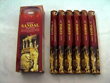 DARSHAN INCENSE STICKS 6 HEXAGONALS BOXES = 120 STICKS SANDAL SCENT