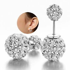 Womens 925 Sterling Silver Plated Double Crystal Ball Earrings Jewelry Ear Studs