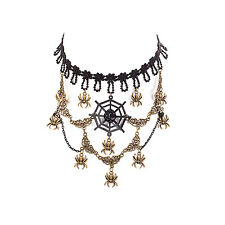 Womens Ornate Steampunk Costume Necklace Cosplay Goth Jewellery - Black Spider