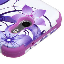 SAMSUNG GALAXY J3 EMERGE 2017 PURPLE FLOWER TUFF 3-PIECE SHOCKPROOF CASE COVER