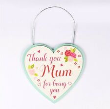 Thank You Mum For Being You - Heart Shaped Wooden Plaque By Sass & Belle