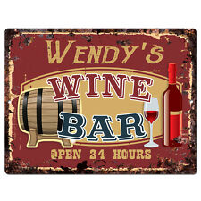 PWWB0115 WENDY'S WINE BAR OPEN 24Hr Rustic Tin Chic Sign Home Decor Gift