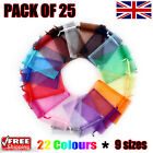 25 x Organza Gift Pouch Wedding Favour Bag Jewellery Pouch 23 Colours & 9 Sizes