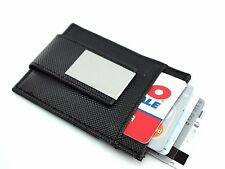 Fashion Black Leather Pocket Wallet Case ID Card holder with Magnet Money Clip
