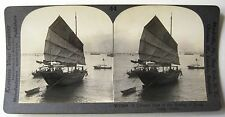CHINA Chinese JUNK Boat in HONG KONG Harbor Stereoview by Keystone