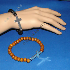 2pc SET BLACK & BROWN WOODEN BEADED STRETCH BRACELETS WITH METAL CROSS CRUCIFIX