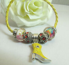 European Style Yellow Leather Murano Glass Beads - Cowboy Boot Bracelet