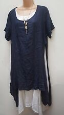 New Navy Linen Italian Lagenlook 3 pc tunic dress top necklace 12 14 16 18 20