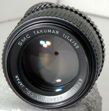 nice fast Asahi SMC Takumar 50mm f1.4 lens w/ filter, M42 SM, 8 aperture blades