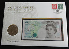 2002 UK £ 5 Coin + £ 5 BANCONOTA SPECIALE LOTTO qe50 001407 GIUBILEO D'ORO FAR rintracciare
