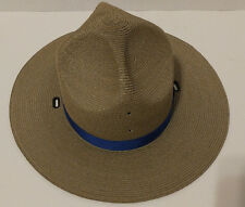 Law Enforcement Stratton Gray Straw Campaign Hat Size 6-7/8 Vintage Blue ribbon