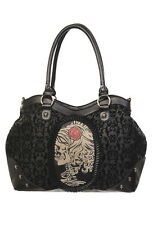 Banned Apparel UK Black Flocked Cameo Lady Rose Skull Handbag Purse