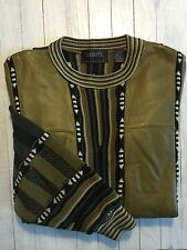 Men's Saxony Collection Leather Sweater Sage Green Multi Cosby Vintage Size XL