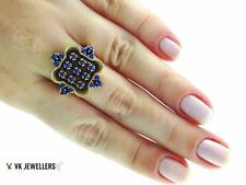 925 STERLING SILVER TURKISH HANDMADE JEWELRY SAPPHIRE RING SIZE 9 R1940