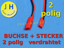 KIT BUCHSE+STECKER 2 polig / ways verdrahtet  Male+Female Connector wired #A200