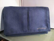 SWISSAIR vintage airline amenity kit bag blue suede travel holder makeup