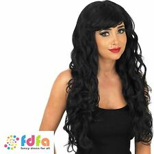 BLACK TEMPTRESS WITCH POP STAR LONG WIG HALLOWEEN - womens ladies fancy dress