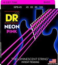 DR NPB-45 NEON HiDef PINK COATED BASS STRINGS, MEDIUM GAUGE 4's -  45-105