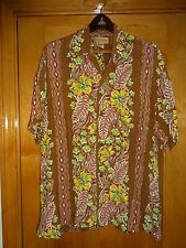 Vintage 1950s Vertical Rayon Floral Hawaiian Shirt Shop Aloha Shirt XL