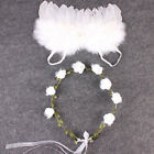 Newborn Baby Girls White Angel Wings Costume Photo Photography Prop Outfits Set