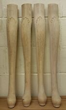 "Set of 4 Unfinished Oak Table Legs Queen Anne Style 26 1/4"" x 3 7/8"""