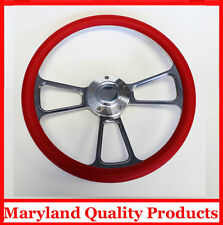 1957-1968 Chevy Impala Biscayne Bel Air Red and Billet Steering Wheel 14""