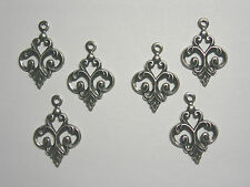 Silver Plated Brass Fleur Drops Charms Earring Findings - 6
