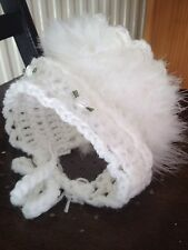 Hand crochet Baby Girls Hat Bonnet Maribou Fur... Newborn / Reborn