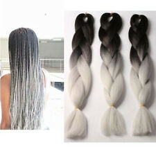 "3PCS Black White hair 24"" High Temper kanekalon  braiding Fiber extension 300g"