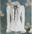 Womens Victorian Frilly Ruffle Sleeves Black Bow Tops High Neck Shirt Blouse