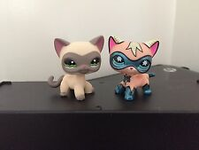 2 Littlest Pet Shop Comic Con Mask Cat & Mask Siamese Cat #1116 RARE USA Seller
