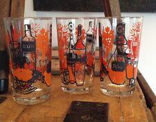 3 anglais MidCentury vintage des années 1950 moderniste verre verres Rhum Vin Whisky