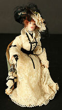 Victorian Lady with Large Floppy Hat Feathers White Lace Dress with Black Trim