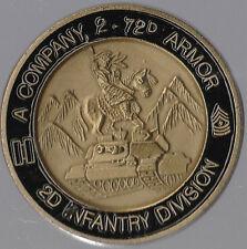 "A Co 2 - 72d Armor 2ID Apaches on The Warpath    Challenge Coins 1.75 "" DIA"